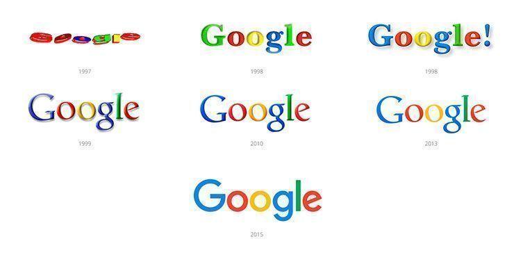El logo de Google a lo largo de su historia