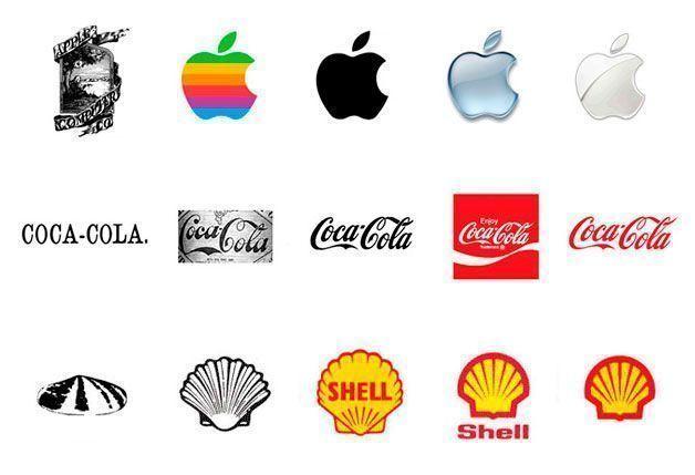 La evolución de varios logotipos